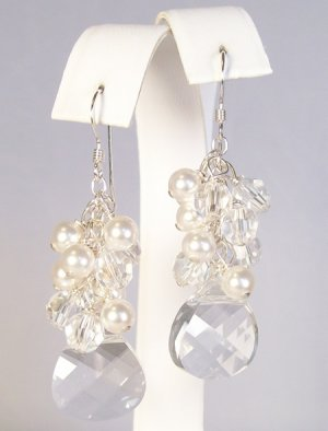 Briolette Pearl & Crystal Cluster Earrings