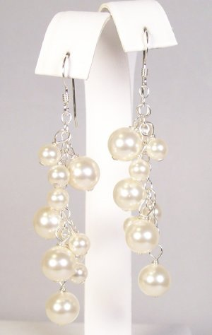 Ivory Pearl Cluster earrings with sterling silver metal