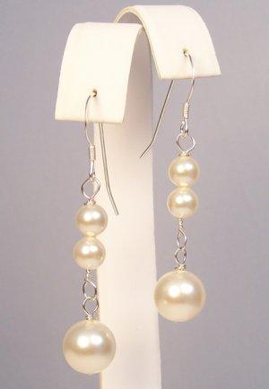 Pearl Drop Earrings - Sterling Silver - Wedding Bridal jewelry Earrings