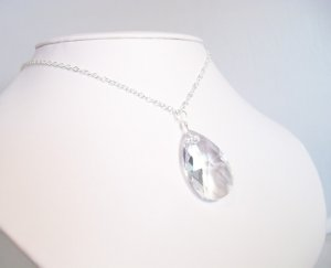 Large Pear Drop Pendant Necklace on Sterling Silver Chain