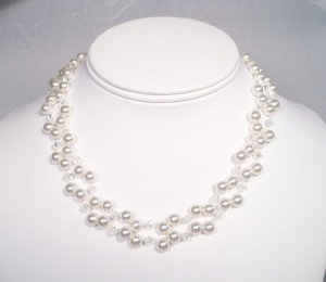 Double Strand Pearl and Crystal Illusion Wedding Necklace