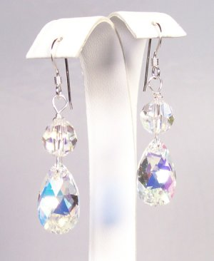 Crystal AB Pear Drop Earrings - Sterling Silver