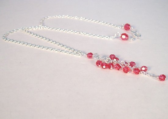 Pink Cluster Y Drop Necklace in Sterling Silver - Great Bridesmaids Gift or for Everyday Wear