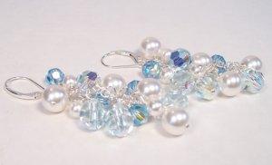 Something Blue Pearl and Crystal Chandelier Earrings - Wedding Earrings