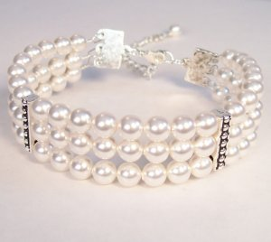 White PearlTriple Strand Swarovski Cuff Wedding Jewelry Bracelet