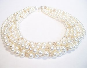 5 Strand Ivory and Golden Shadow pearl and Crystal Necklace - Wedding Necklace - Layered