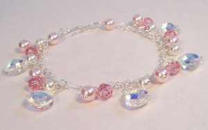 Pink Bracelet with Crystal Teardrops and Pink Pearls - Sterling Silver