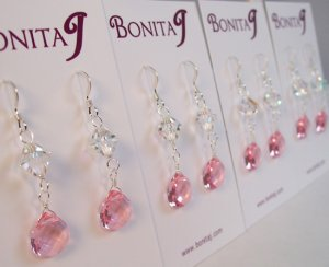 Pink Bridesmaids Teardrop Earrings