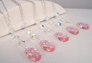 Pink Teardrop Necklaces - Perfect for a Wedding or Every Day Wear