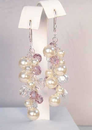 Ivory Pearls with Light Purple and Clear Crystals - Sterling Silver - Wedding Earrings