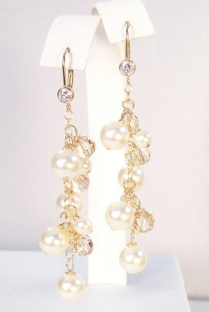 Cassidy Earrings with Ivory Pearls Gold Shadow Crystals and CZ Leverbacks