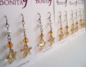 Brown Starfish with Orange Crystals and White Pearls - Bronze Wire - Beach Wedding Earrings Jewelry