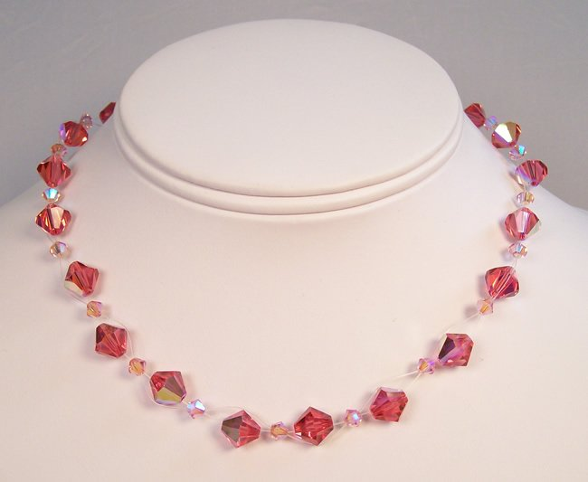 Pink Crystal Illusion Necklace - Bridesmaid necklace - Floating Necklace
