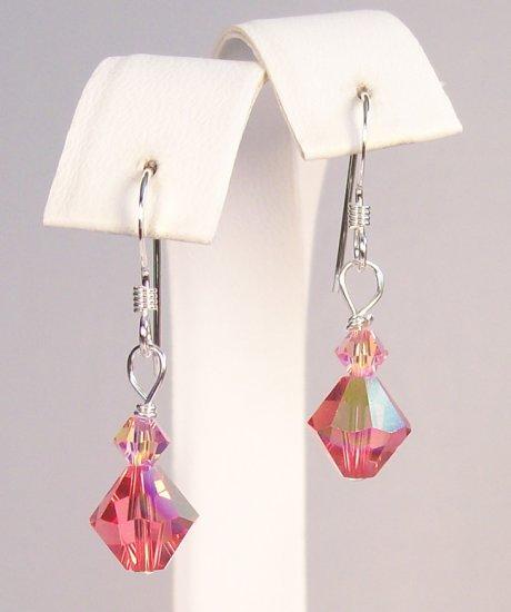 Small Diamond Drop Crystal Earrings in Pink - Bridesmaid Wedding Earrings