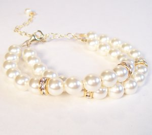 Ivory Pearls Double Strand Bracelet with Rhinestones