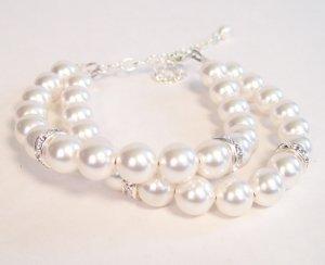 Double Strand White Pearl Bracelet with Rhinestone Accents - Wedding Bridal Bracelet