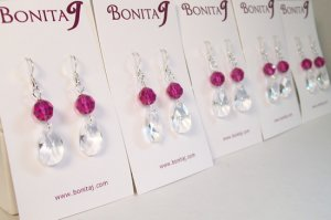 Clear Teardrop Earrings With Fuchsia Hot Pink Crystals - Bridesmaid Earrings - Sterling Silver