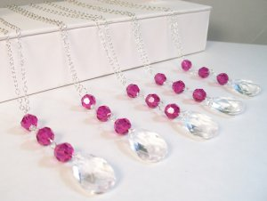 Clear Pear Drop with Fuchsia Hot Pink Crystals - Sterling Silver - Wedding Necklace - All Occasions