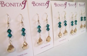 Champagne Teardrop Earrings with Teal Blue Crystals - Gold Filled - Wedding Bridesmaid Earrings