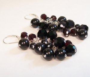 Black Cherry Chandelier Earrings - Cranberry and Jet black - Wedding Earrings