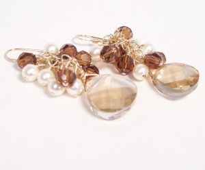 Luka Teardrop Cluster Earrings Bridesmaid Earrings - Champagne, Browns and Ivory Cream