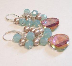 Bayberry Teardrop Cluster Earrings - ridesmaid Earrings - Purples, Browns and Blues