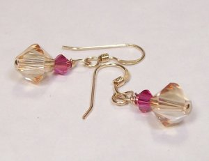 Champagne and Pink Bridesmaid earrings 14k Gold Filled Wedding Jewelry