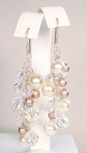 Harlow Earrings Ivory Almond Clear Clusters Wedding Earrings