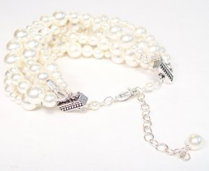 Melinda Six Strand Cream Pearl Bracelet - Wedding Bracelet - ivory