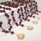 Teardrop Illusion Bridesmaid Necklaces - Pearls and Crystals Maroon Champagne Hot Pink