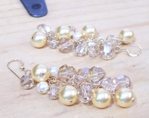 Champagne Gold Ivory Cluster Bridal earrings - Gold Filled