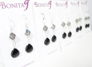 Black Bridesmaid Earrings - Teardrop Crystal - Wedding Jewelry