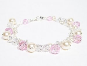 Pink Clear and Ivory Cluster Bracelet - Wedding Bracelet - Pearls and Crystals