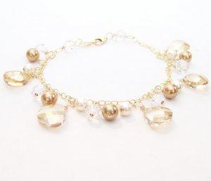 Teardrop Cluster Bracelet - Champagne Brown - 14k Gold Filled - Bridesmaid Bracelet