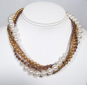 Minka 4 Strand Twisted Layered Necklace - Antique Copper - Pearls and Crystals