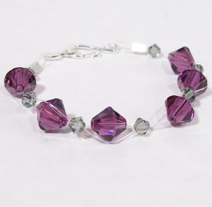 Amethyst & Black Diamond Crystal Illusion Bracelet