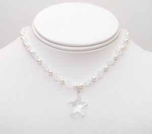 Cape Clear Starfish Illusion Necklace - White Pearls & Clear Crystals