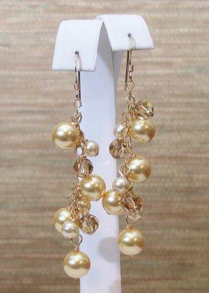 Golden Brown Chandelier Earrings - 14k Gold Filled