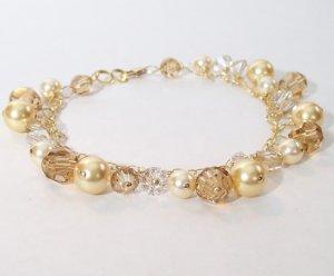 Golden Brown Pearl & Crystal Cluster Bracelet - 14k Gold Filled