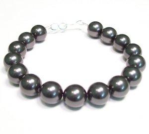 Chunky Black Pearl Bracelet - Single Strand - 10mm Pearls