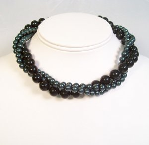 Black & Teal Pearl Twisted Necklace - Statement jewelry - Bridesmaid Necklace