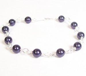 Purple Pearl Bridesmaid Bracelet - Sterling Silver - Single Strand