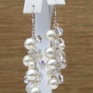 Cream Pearl & Clear Crystal Cluster Earrings - Wedding Earrings - Chandelier