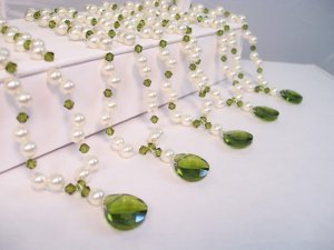 Gabrielle Teardrop Illusion Necklace - Pearls and Crystals - Bridesmaid Necklaces - Green and Cream