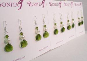 Gabrielle Teardrop Earrings in Cream and Green - Sterling Silver - Bridesmaid Earrings