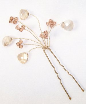 Madeline Teardrop Spray Hairpin, Champagne & Brown Hair jewelry Accessories, Bridal and wedding