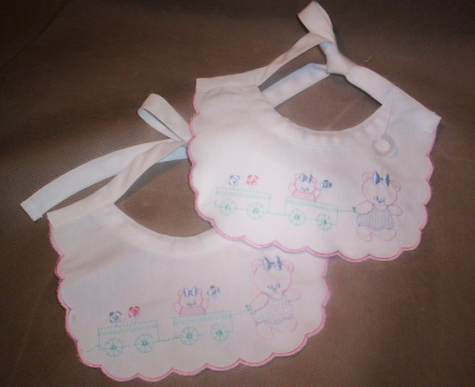 2 white Cotton Embroidered Baby Girl Bibs
