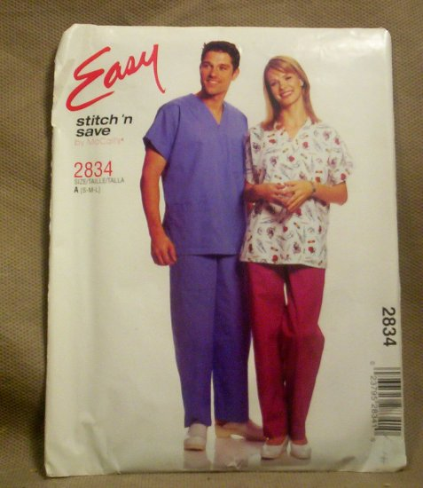 Easy Stitch 'n Save Men's and Ladies Scrubs Pattern 2834 size S-M-L