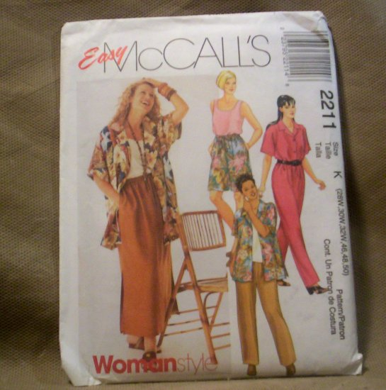 McCall's Easy Women's Shirt, Top, Pants, Shorts, Skirt, Pattern #2211