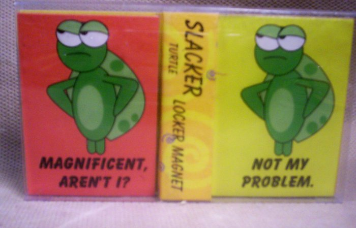 Set of 2 Locker Magnets,Slacker Turtle, Item #08-001001060010